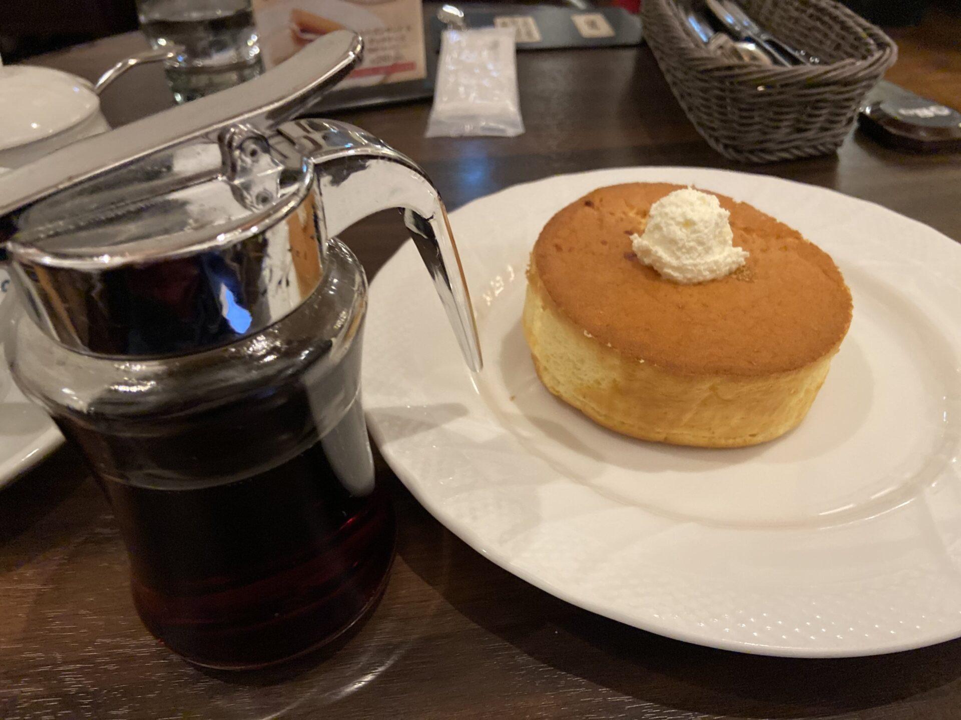 スフレパンケーキ コーヒー
