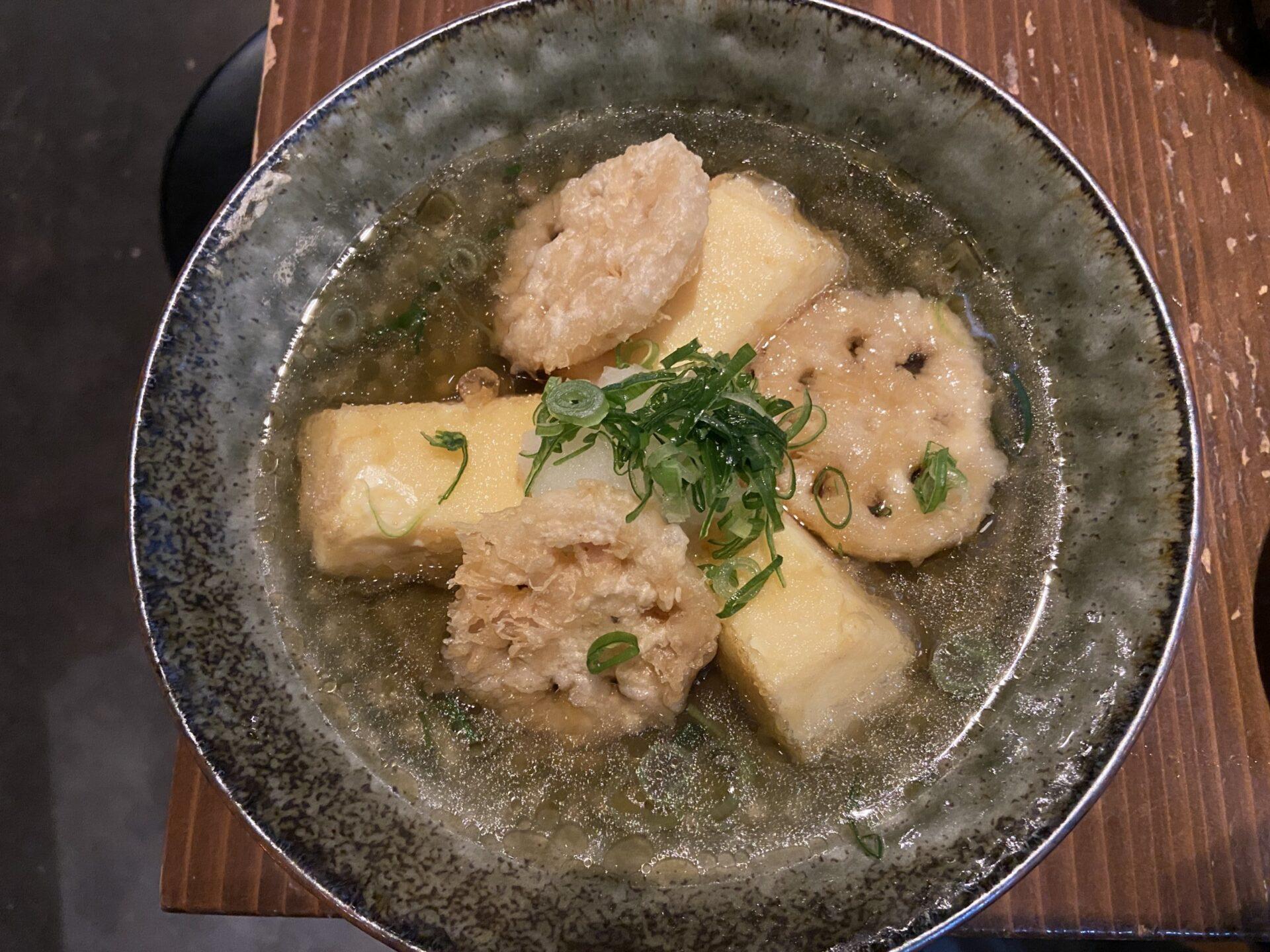イナホ食堂 たまご豆腐とレンコン揚げ出し